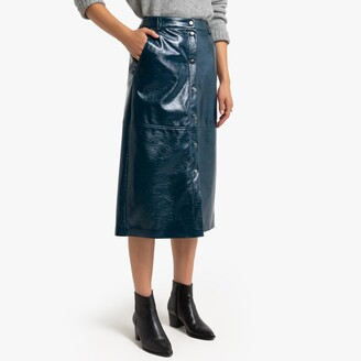 La Redoute Collections Faux Leather Skirt with Press-Stud Front