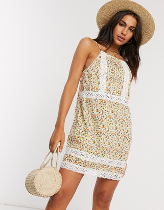 ASOS DESIGN lace insert and dobby mini sundress in floral print