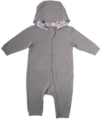 Juddlies Camoose Collection Baby Bamboo 2-Way Zipper Hooded Jumpsuit 6-12 months - Grey