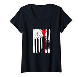 LaCrosse Womens American Flag USA TShirt Lax Gear Player Coach Gift V-Neck T-Shirt