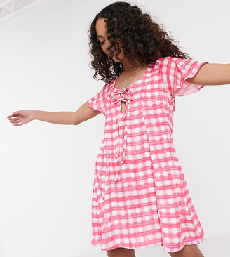 Another Reason tie front smock dress in pink check