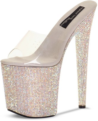 "The Highest Heel Brilliance 800 8"" Heel Platform Sandals Covered in Rhinestones"