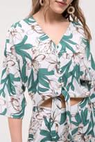 Blu Pepper Floral Front-Tie Top