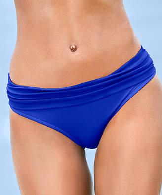Venus Women's Bikini Bottoms COB - Cobalt Blue Ruched Moderate-Coverage Mid-Rise Bikini Bottoms - Women
