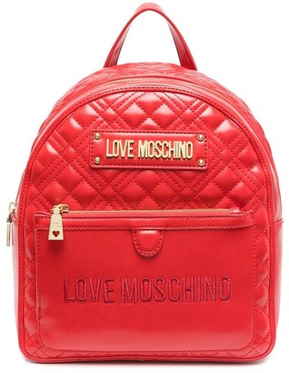 Love Moschino Logo-Plaque Quilted Backpack