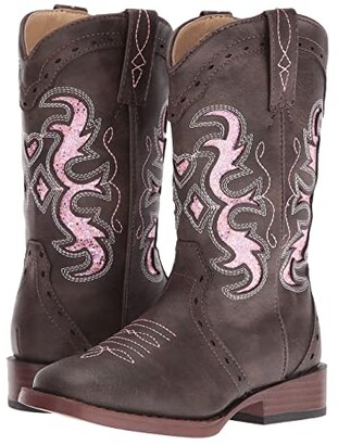 Roper Lexi (Toddler/Little Kid) (Brown Faux Leather/Vamp Pink Insert Shaft) Cowboy Boots