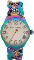 Betsey Johnson Women's Iridescent Stainless Steel Link Bracelet Watch 36mm BJ00297-04