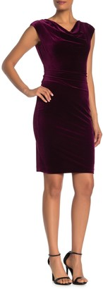 Vince Camuto Drape Neck Velour Dress