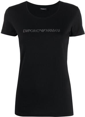 Emporio Armani short sleeve rhinestone embellished T-shirt