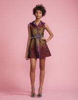 Cynthia Rowley Peacock Jacquard Belted Dress