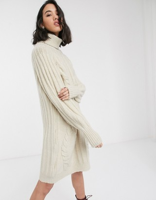 Only sweater dress with roll neck and cable detail in cream