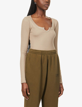 Joah Brown Henley long-sleeved stretch-jersey top