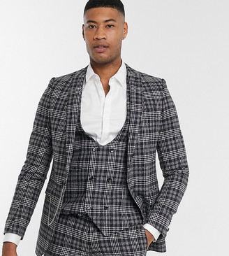 Twisted Tailor TALL suit jacket in gray check
