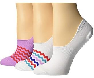 Converse Mini Volt Zigzag 3-Pair Pack MFC Microfiber Liner (White Multi) Women's Crew Cut Socks Shoes