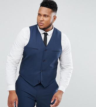 Asos Design PLUS Slim Suit Waistcoat In Mid Blue