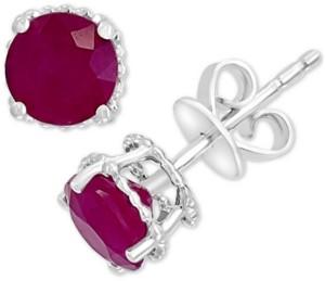 Effy Emerald Stud Earrings (1-1/2 ct. t.w.) in 14k White Gold (Also in Tanzanite, Ruby & Sapphire)