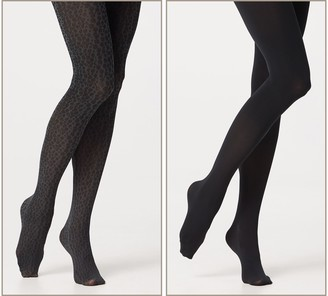 Legacy Animal Print and Solid Control Top Tights 2 Pack