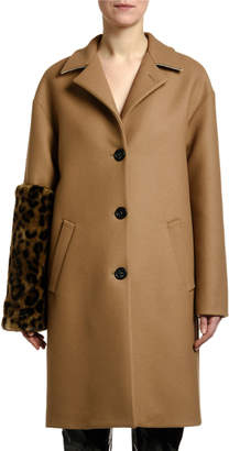 No.21 No. 21 Leopard-Sleeve Single-Breasted Wool Coat