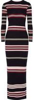 Chinti and Parker Ribbed Striped Merino Wool Maxi Dress - Navy