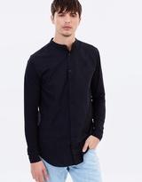 SikSilk Grandad Collar Jersey Sleeve Fitted Shirt