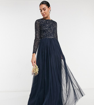 Maya Tall Bridesmaid long sleeve maxi tulle dress with tonal delicate sequins in navy