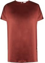 Brunello Cucinelli Short-sleeved silk-blend satin top