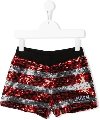 Msgm Kids Sequin Striped Shorts
