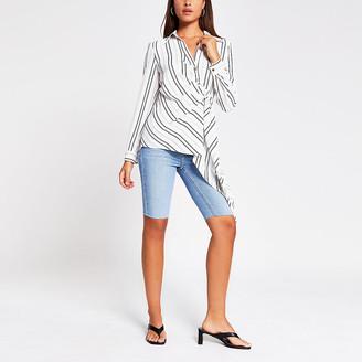 River Island White stripe long sleeve shirt