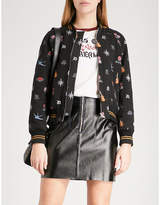 Sandro Mixed motif-jacquard padded bomber jacket