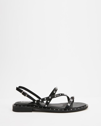 Betsy - Women's Black Strappy sandals - Studded Strappy Sandals - Size 36 at The Iconic