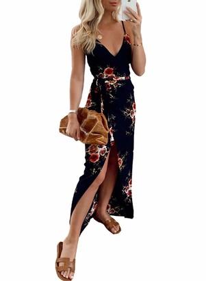 CORAFRITZ Women's Summer Sexy Dress Leopard Print Backless Split Maxi Dress V Neck Sleeveless Cocktail Dress Gray