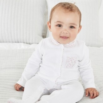 The White Company Ditsy Floral Collared Velour Sleepsuit, White, 12-18mths