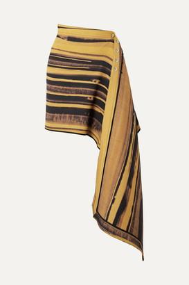 Peter Do - Asymmetric Striped Wool And Silk-blend Cady Wrap Mini Skirt - Yellow