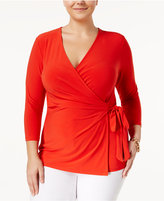 Anne Klein Plus Size Faux-Wrap Top