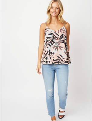 George Pink Leaf Print Double Layer Camisole Top