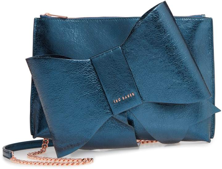Ted Baker Aliysa Crackle Bow Leather Clutch