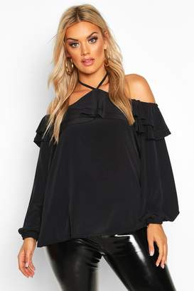 boohoo Plus Halter Cold Shoulder Woven Top