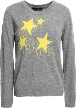 Moschino Crystal-embellished Intarsia Wool And Cashmere-blend Sweater