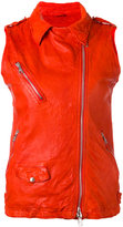 Giorgio Brato sleeveless biker jacket - women - Leather/Cotton - 40