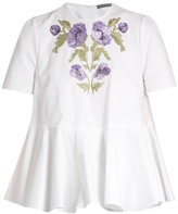 Alexander McQueen Embroidered cotton-piqué blouse