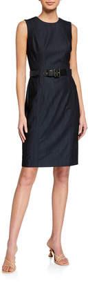 Calvin Klein Denim Sleeveless Belted Sheath Dress