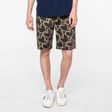 Paul Smith Men's Khaki 'Chain-Link Heart' Print Stretch-Cotton Shorts