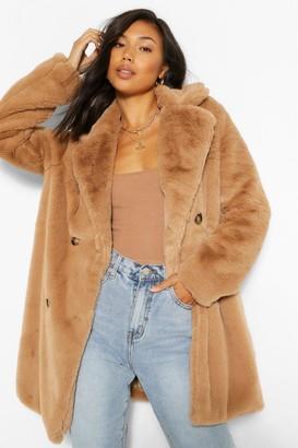 boohoo Double Breasted Faux Fur Coat