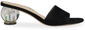 Kate Spade Polished Bauble-Heel Suede Mules
