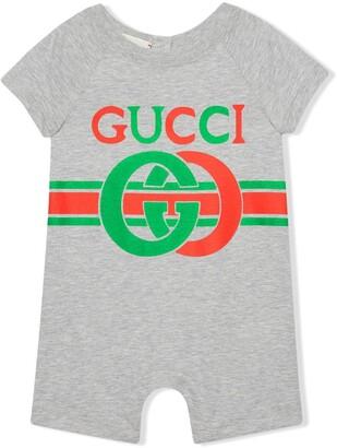 Gucci Kids Interlocking G print cotton one-piece