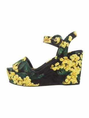 Dolce & Gabbana Floral Print Slingback Sandals Black