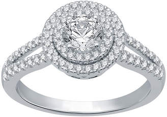 EVER STAR Ever Star Womens 1 CT. T.W. Lab Grown White Diamond 10K White Gold Engagement Ring