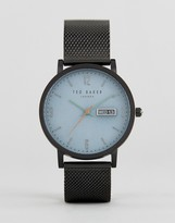 Ted Baker Grant Mesh Watch In Gunmetal