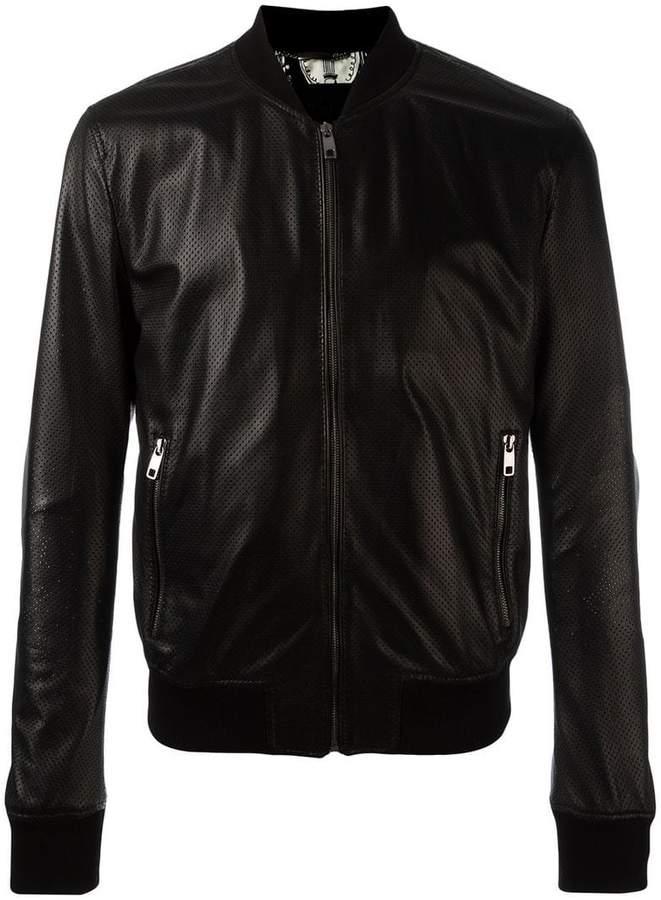 Dolce & Gabbana perforated leather bomber jacket