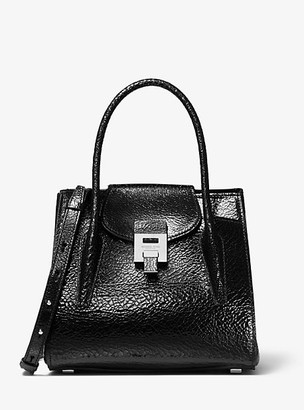 Michael Kors Bancroft Medium Crackled Calf Leather Satchel
